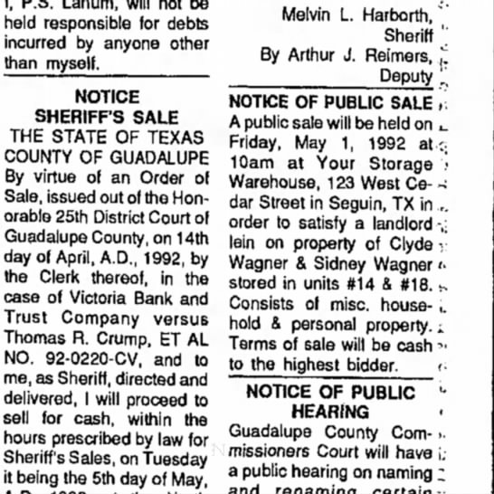 Article from Seguin Gazette, April 29, 1992 -