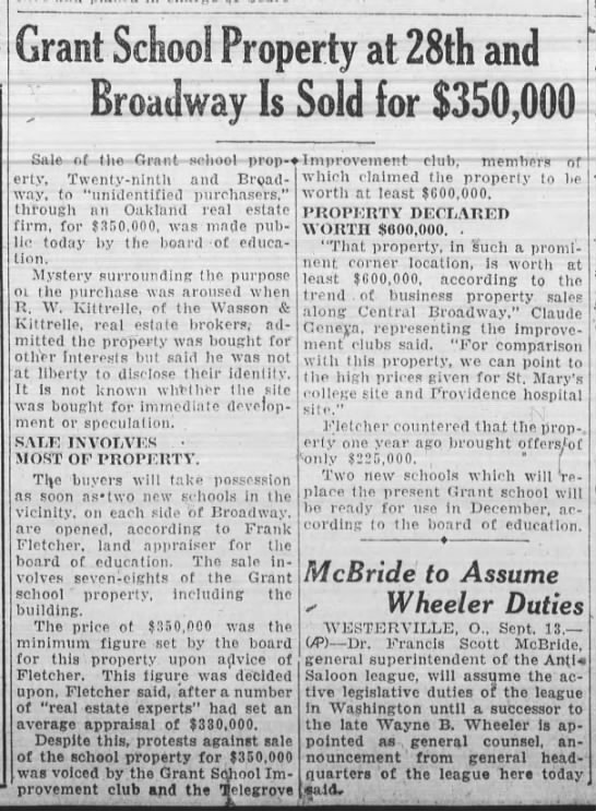 Old Grant School Property Sold for $350,000 - Sept 13, 1927 -