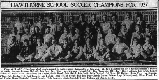 Hawthorne School Soccer Champions for 1927 -