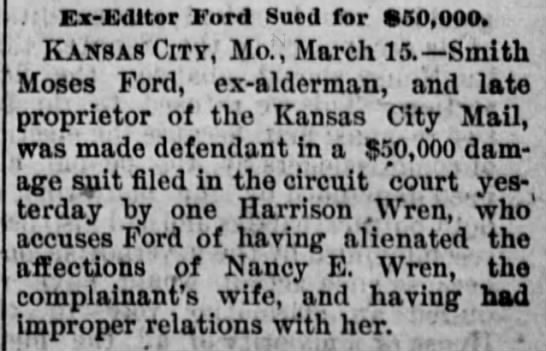 Smith Moses Ford, husband of Mary Hanford Ford, sued for couple estrangement, improper relations -