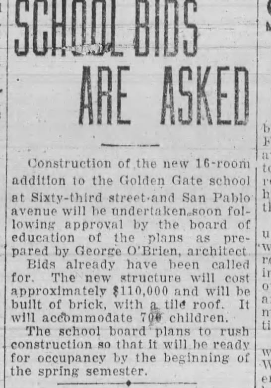 Bids for New School - Aug 10, 1927 -