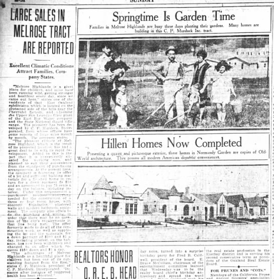 Large Sales in Melrose Tract Are Reported - May 02, 1926 -