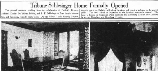 Tribune Schlesinger Home Formally Opened - 2 Westminster -