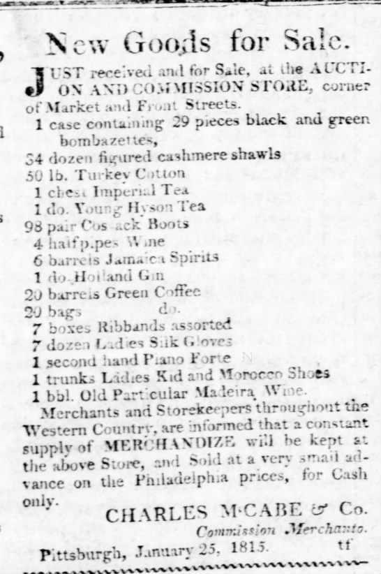 Charles McCabe & Co., January 25, 1815, Commission Merchants -
