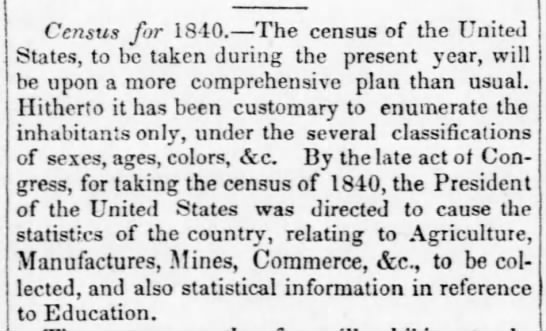Census questions expanded in 1840 -