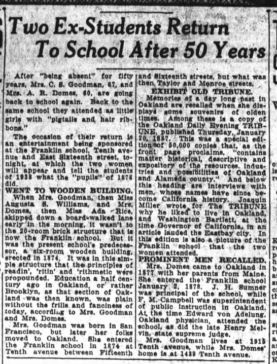Two Ex-Students Return to School After 50 Years - Franklin - March 1928 -