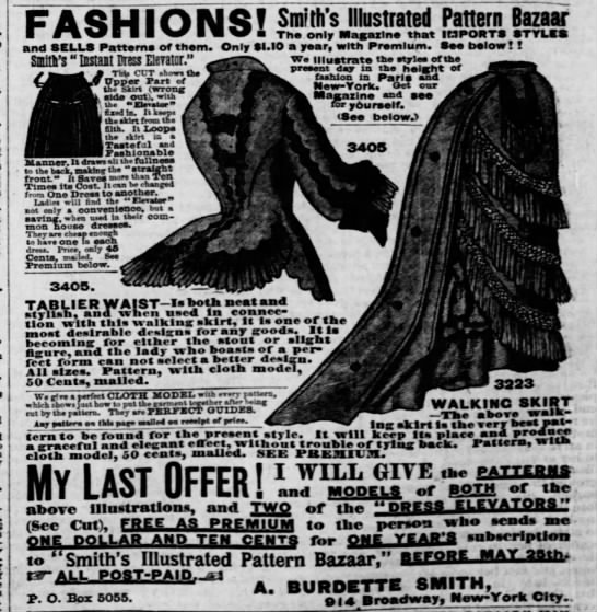 Advertisement for women's clothing patterns (Missouri, 1875) -