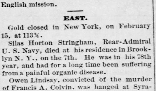 Admiral Silas Horton Stringham death notice 7 Feb 2878 Brooklyn NY -