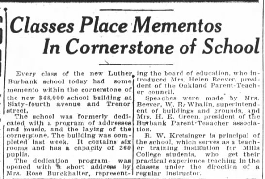 Class Place Mementos - Burbank School - Dec 08, 1928 -