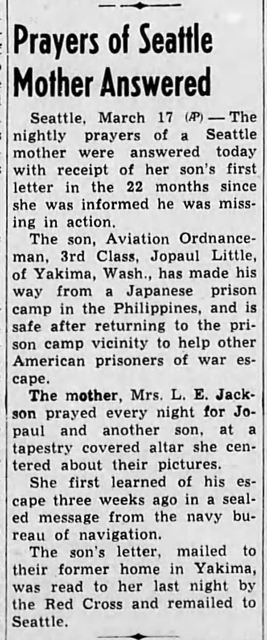 Mother receives letter 22 months after son went MIA: 1944 - Prayers of Seattle Mother Answered Seattle,...