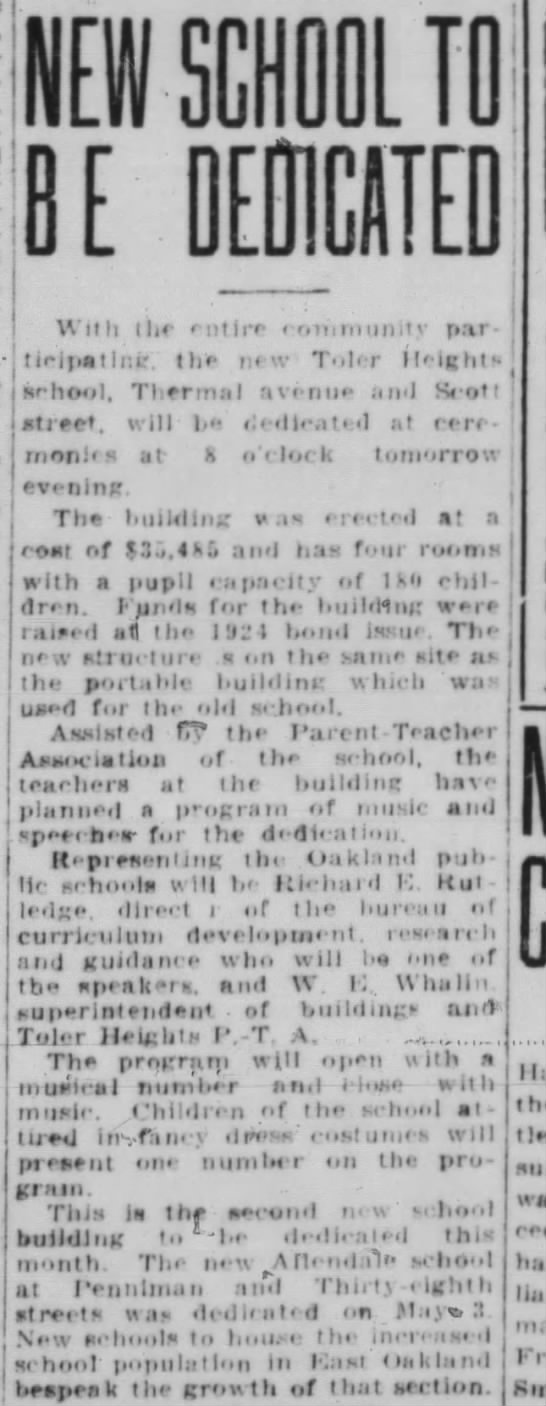 New School to Be Dedicated - May 23, 1928 -
