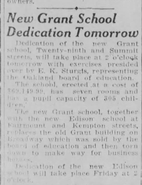 New Grant School Dedication - May 30, 1928 -