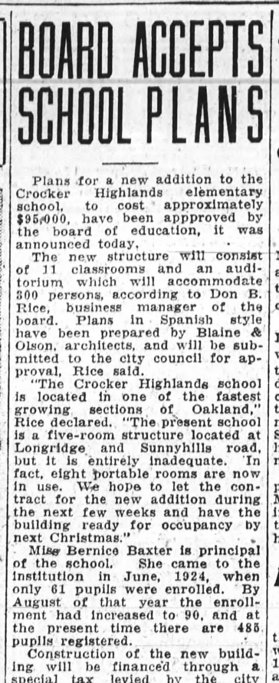 Board Accepts School Plans Crocker Highlands Apr 17, 1929. -