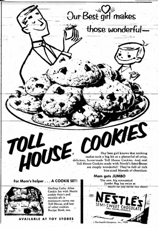 1954 ad for Nestle's semi-sweet morsels -