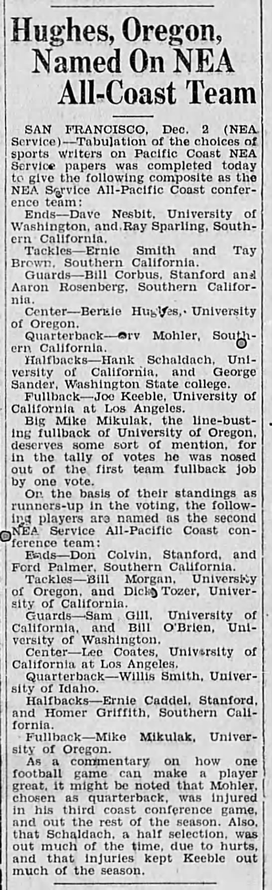 1932 NEA All PCC football team -