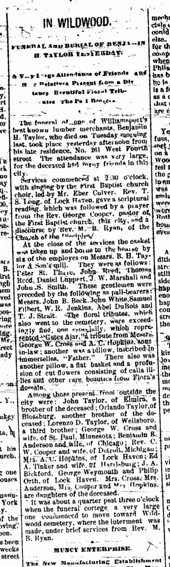Obit B. H. TaylorWilliamsport Sun-Gazette Williamsport, PennsylvaniaSaturday, February 16, 1884  -