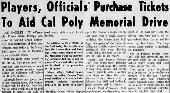 Players, Officials Purchase Tickets To Aid Cal Poly Memorial Drive -