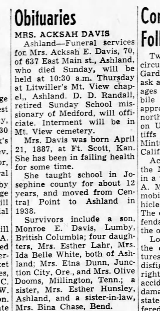 1958 01 19 Achsah Davis obituary Medford Mail Tribune - Newspapers com