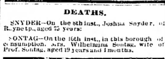 Death Notice Joshua Snyder of Rayne Twp Indiana County PA Nov 1875 -