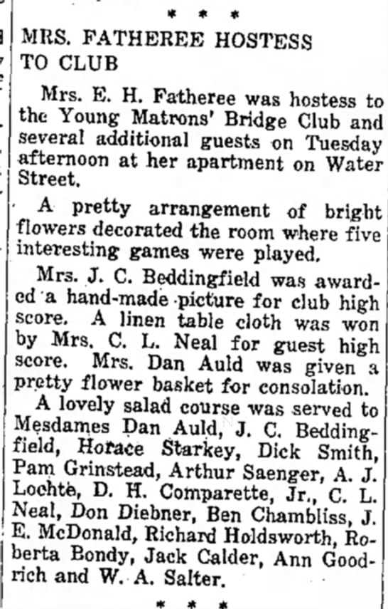 The Kerrville Times (Kerrville, Texas) 23 July 1931, Young Matrons' Bridge Club, Roberta Bondy -