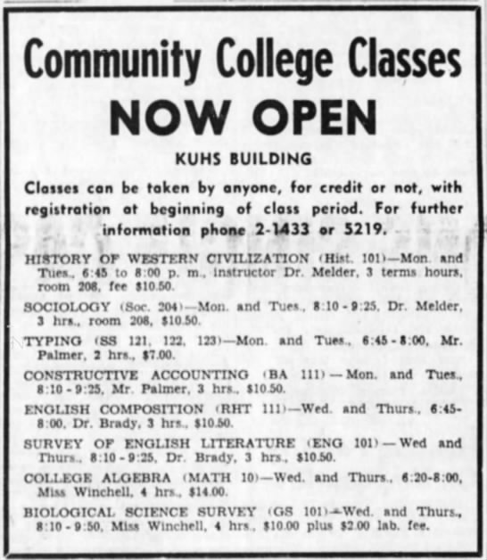 Ad: Community College Classes NOW OPEN -
