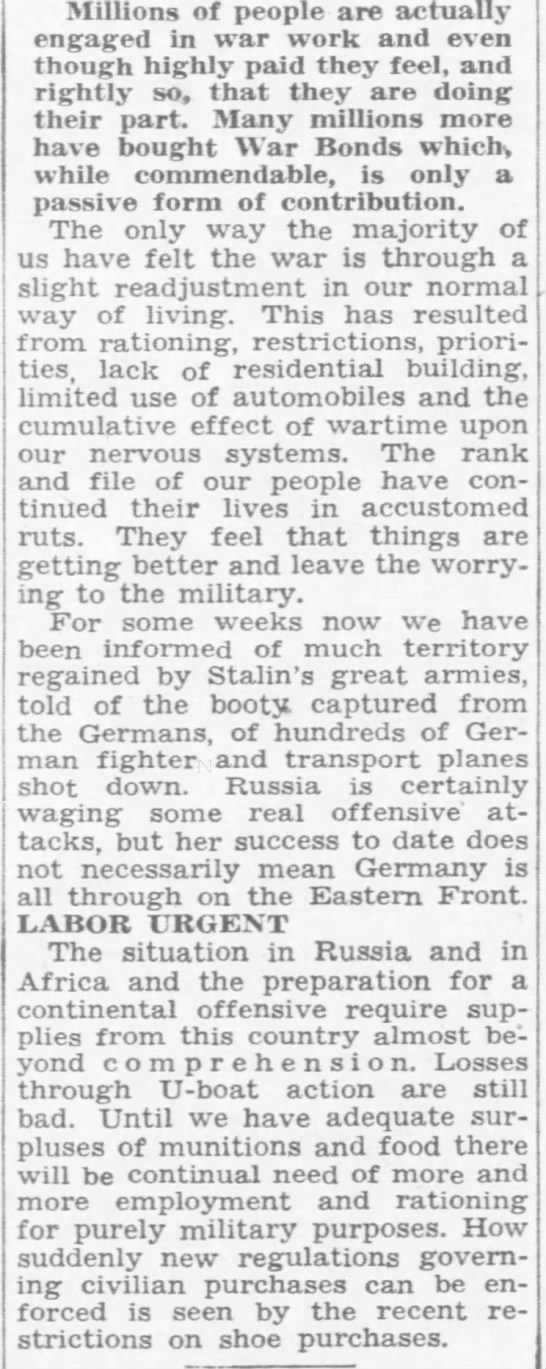 Babson urges civilians to more aid in war effort, DFP 2-21-1943 p26 -B -