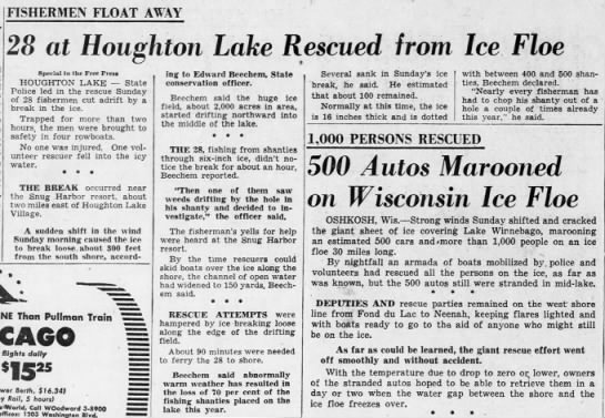 28 at Houghton Lake Rescued from Ice Floe -