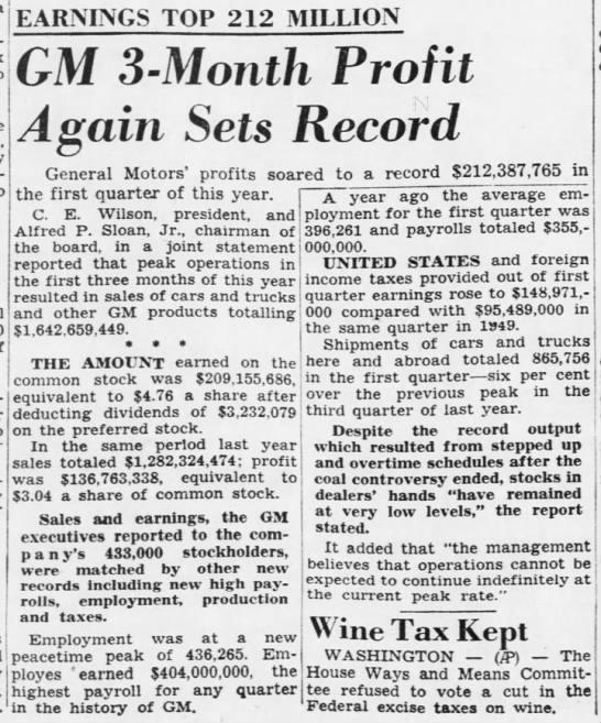 GM 3-Month Profit Again Sets Record -
