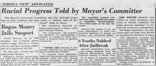 Racial Progress Told by Mayor's Committee -
