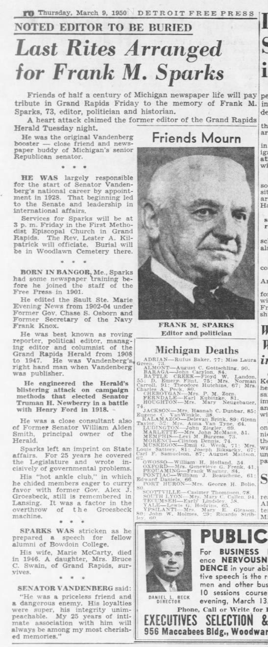 Last Rites Arranged for Frank M. Sparks -