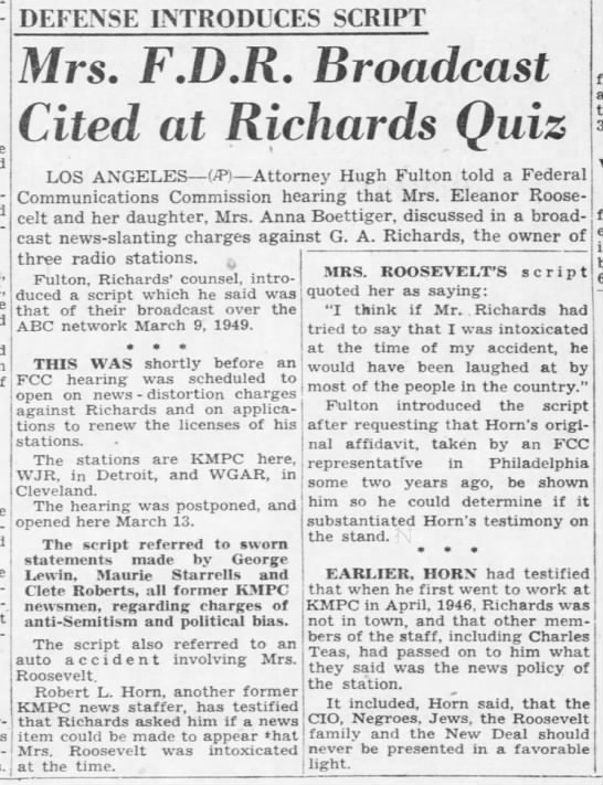 Mrs. F.D.R. Broadcast Cited at Richards Quiz -