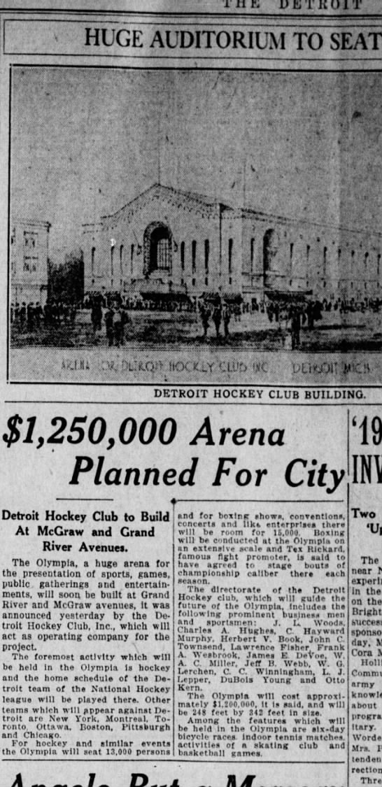 $1,250,000 Arena Planned for City -