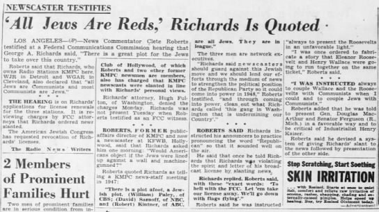'All Jews Are Reds,' Richards Is Quoted -
