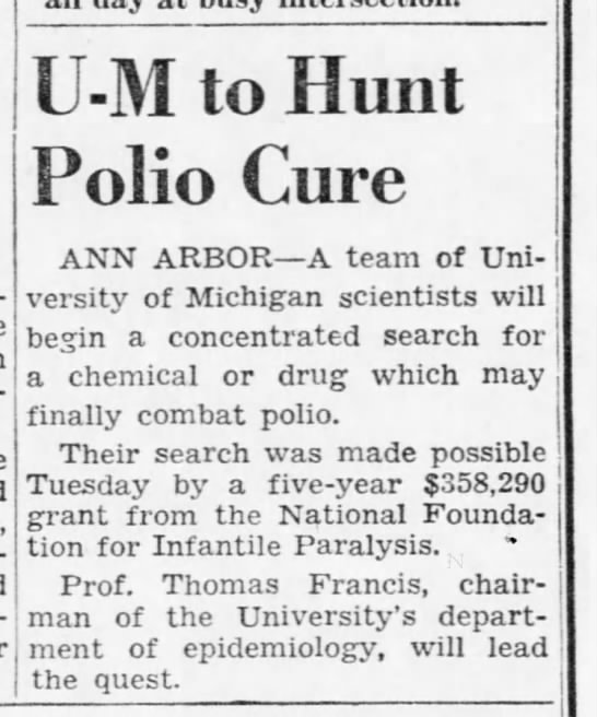 U-M to Hunt Polio Cure -
