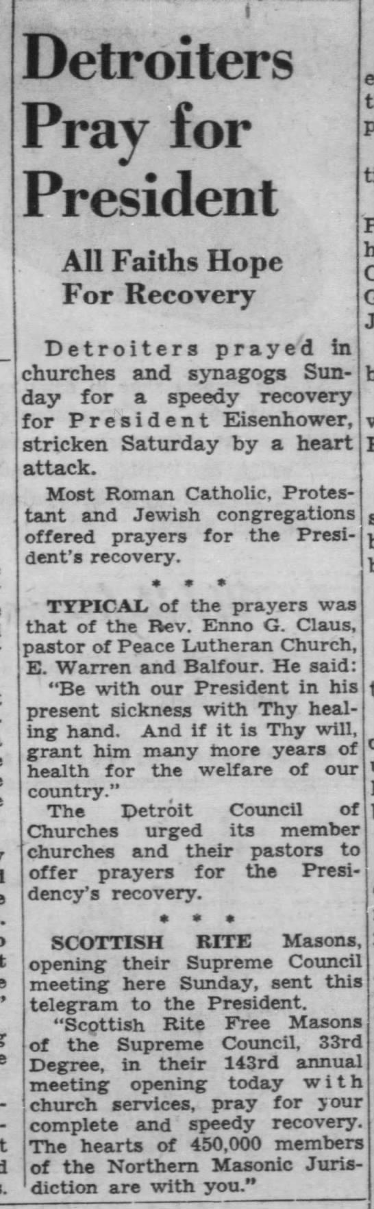 Detroiters Pray for President -