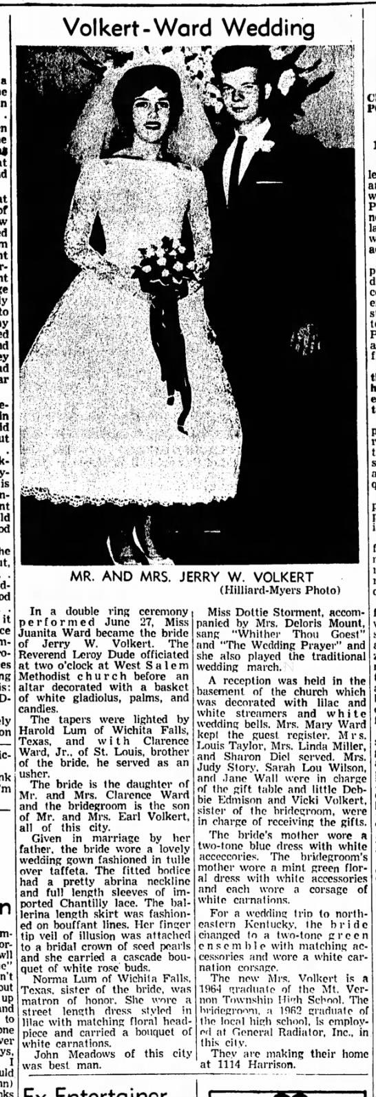 Volkert Ward wedding 1964 -
