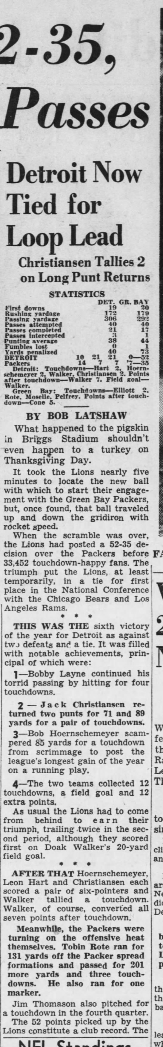 Lions Wallop Packers, 52-35 -
