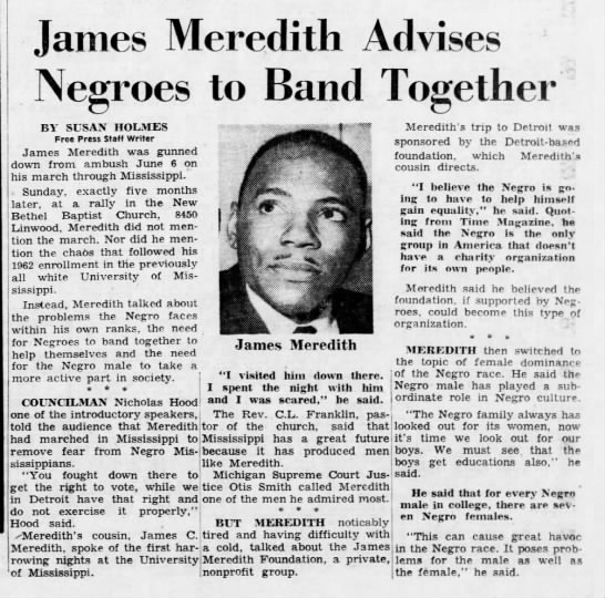 James Meredith Advises Negroes to Band Together -