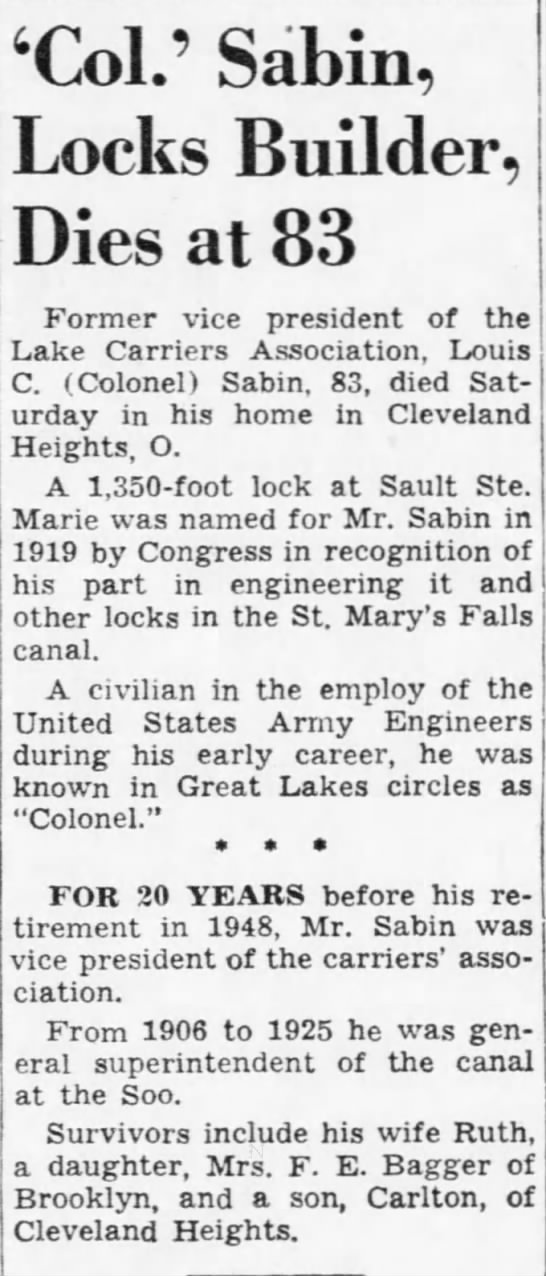 'Col.' Sabin, Locks Builder, Dies at 83 -