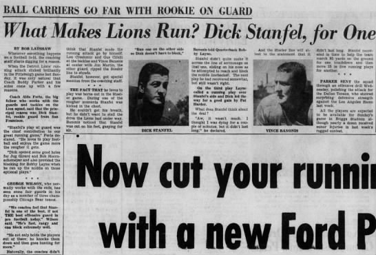 What Makes Lions Run? Dick Stanfel, for One -