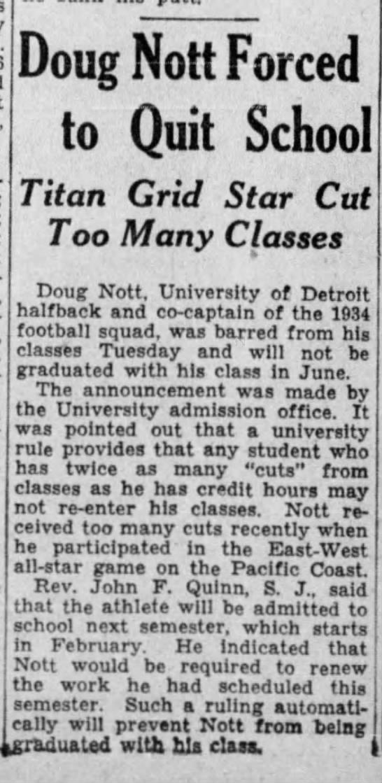 Doug Nott Forced to Quit School -