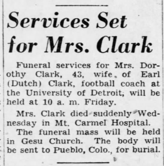 Services Set for Mrs. Clark -