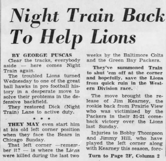 Night Train Back To Help Lions -