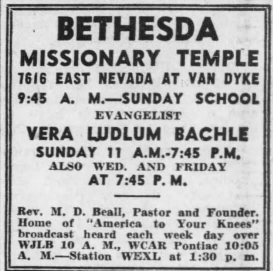 Vera Ludlum Bachle, Assemblies of God evangelist and friend of Mom Beall -