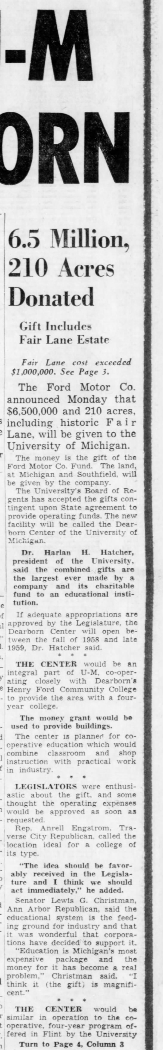 * December - Ford Motor Co. donated $6.5 million and 210 acres of land in [[Dearborn, Michigan]], to -