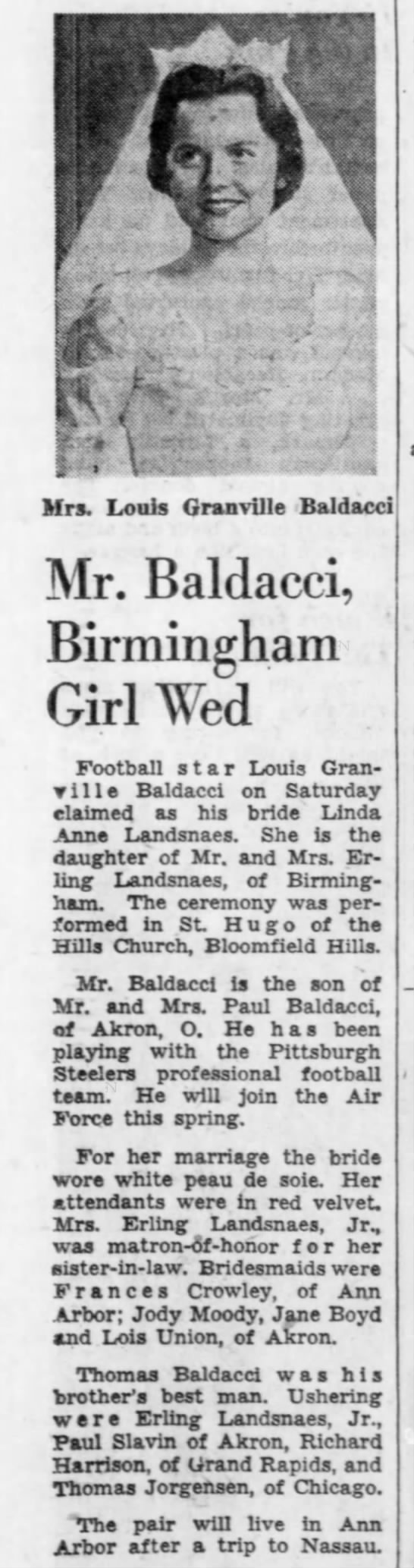 Mr. Baldacci, birmingham Girl Wed -