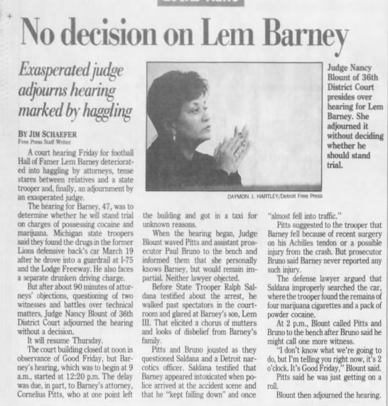No decision on Lem Barney -