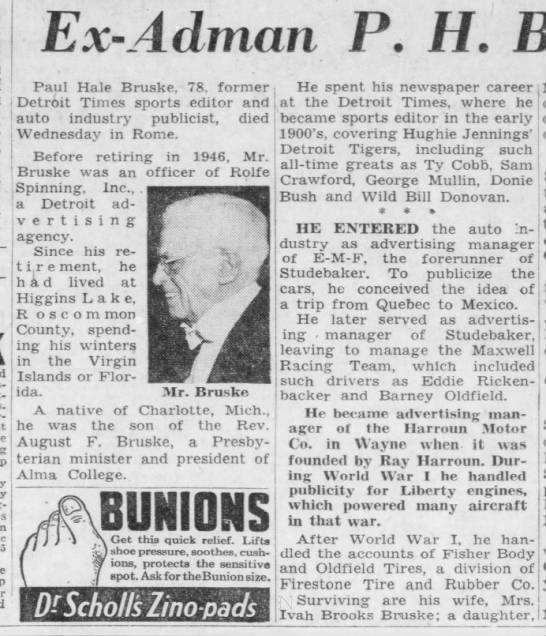Ex-Ad Man P.H. Bruske Dies at 78 -