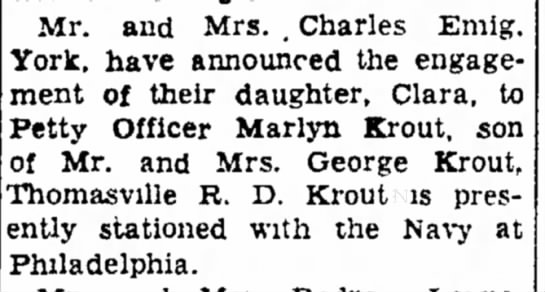 Marlyn Krout and Clara Emig engagement-Jan 1957 - as will Mr. and Mrs. . Charles Emig. York, have...