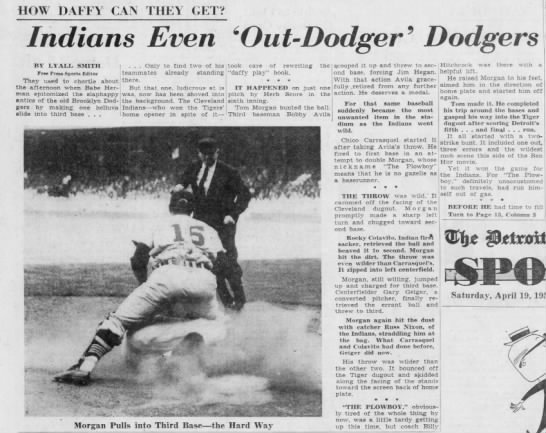 LLHR: 4/18/1958, CLE@DET, Tom Morgan -